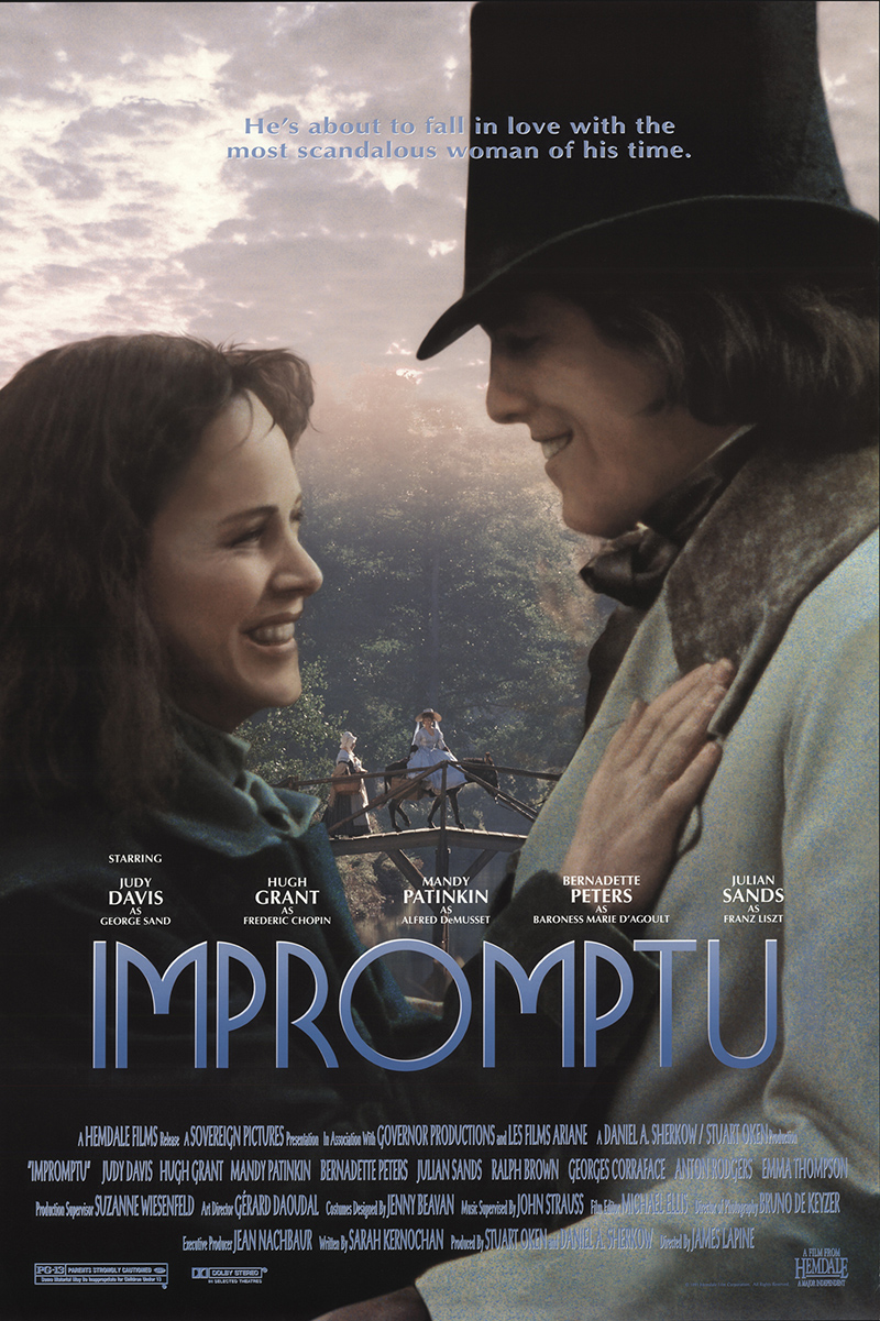 a review of impromptu a movie by james lapine Nanian [excerpt here's all of richard nanian's review] impromptu dir james lapine (1991) (judy davis as george sand, hugh grant as chopin,  in the movie the.